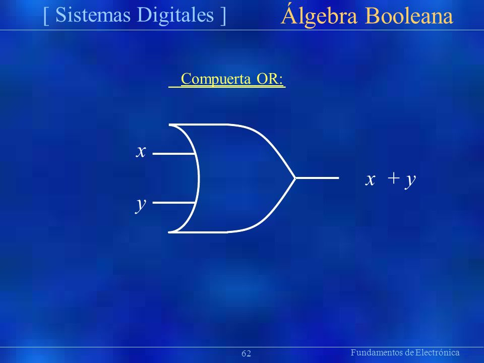 Álgebra Booleana [ Sistemas Digitales ] x y Compuerta OR: x + y ion 62